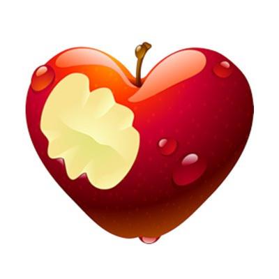 Картинка Яблочное сердце 3,7х3,7 см