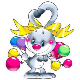 Картинка Зайчик с шариками 3,2х3,8см