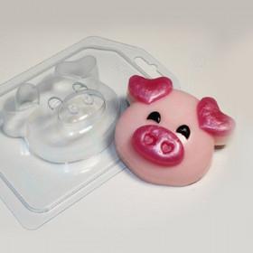 Форма для мыла Хрюшка - мордочка, уши сердечком