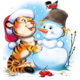 Картинка Снеговик и Тигренок 4,6х4,6см